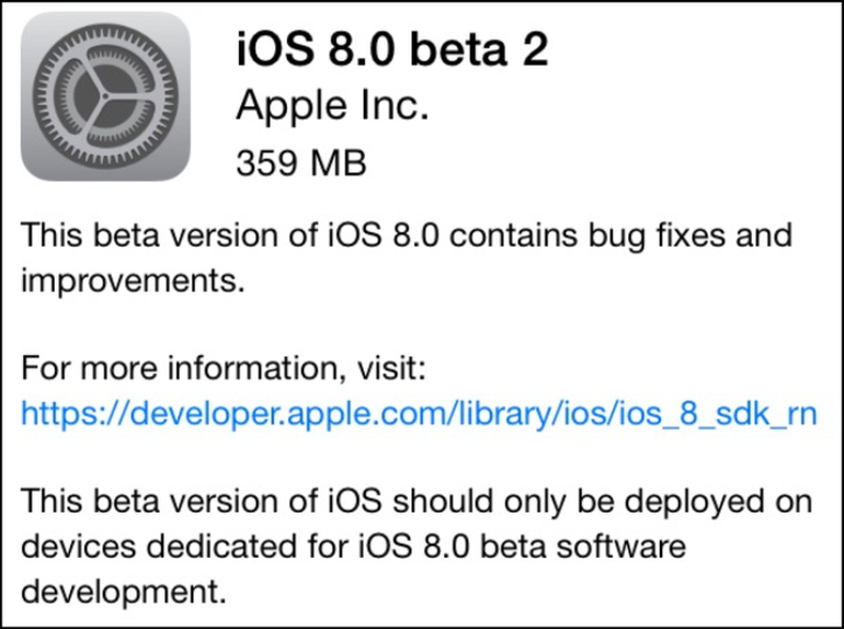 iOS 8 Beta 2 Goes Live for the Developers